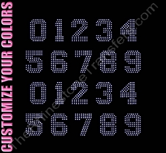 Varsity Filled Font Numbers - 1.3 Inches Height - ss6 Stones - CUSTOMIZE YOUR COLORS - Rhinestone Transfer