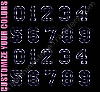Varsity Outline Font Numbers - 1.8 Inches Height - ss10 Stones - CUSTOMIZE YOUR COLORS - Rhinestone Transfer