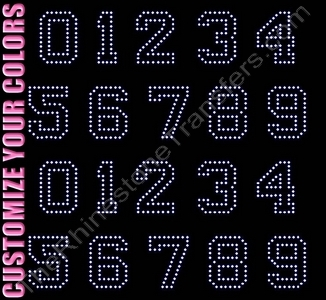 Varsity Outline Font Numbers - 2.5 Inches Height - ss16 Stones - CUSTOMIZE YOUR COLORS - Rhinestone Transfer