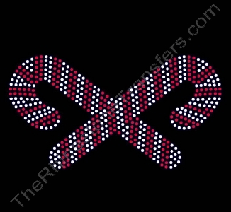 Candy Canes - Crossed - Rhinestone Transfer