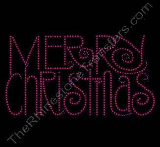 MERRY CHRISTMAS - Swirly Font - Red - Rhinestone Transfer