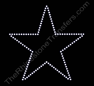 Star - 5 Inches - Not Filled - Rhinestone Transfer
