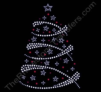 Christmas Tree - with Swirls and Stars - Clear & Red - Rhinestone Transfer