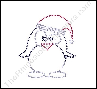 Penguin - with Santa Hat - Rhinestone Transfer