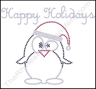 Happy Holidays - with Penguin in a Santa Hat - Rhinestone Transfer