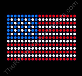 USA Flag - 3 x 2 Inches - Rhinestone Transfer
