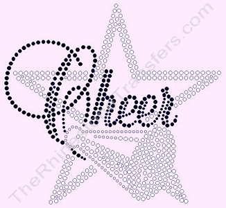 Cheer with Star and Megaphone - Black - Rhinestone Transfer