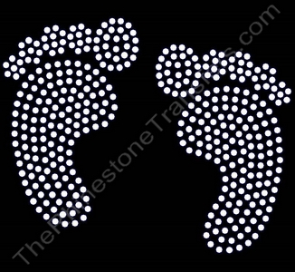 Baby Feet - Filled - Clear - LARGE - Rhinestone Transfer