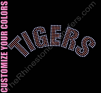 TIGERS - Arched - CUSTOMIZE YOUR COLORS - Rhinestone Transfer