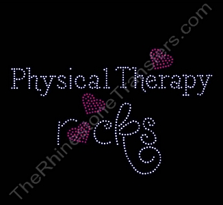 Rocks with Red Hearts - Physical Therapy rocks - LARGE - Rhinestone Transfer
