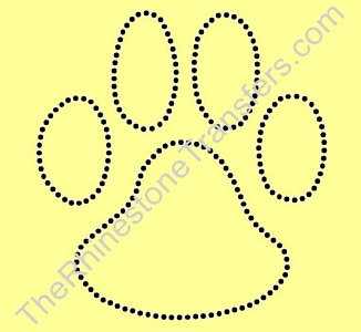 Paw Print - 6 Inches - Style 2 - Not Filled - Black - Rhinestone Transfer