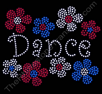 Dance - with Flowers - Rhinestone Transfer