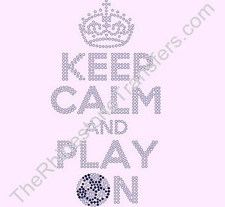 KEEP CALM AND PLAY ON - with Soccer Ball - Rhinestone Design File Download