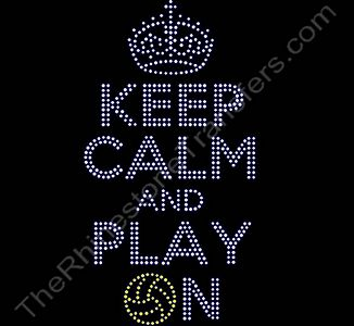 KEEP CALM AND PLAY ON - with Water Polo Ball - Rhinestone Design File Download