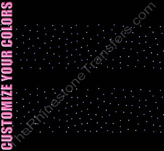 Strip of Scattered Design - 12.9 x 2.9 - ss6 Stones - 2 Strips per Sheet - CUSTOMIZE YOUR COLORS - Rhinestone Design File Download