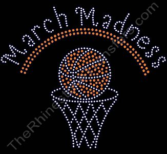 March Madness - with Basketball and Hoop - Rhinestone Transfer