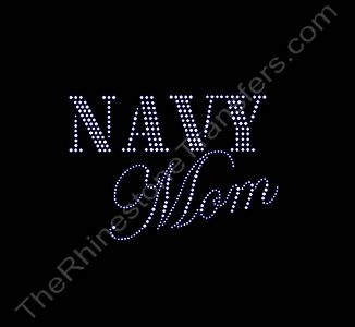 NAVY Mom - Rhinestone Transfer