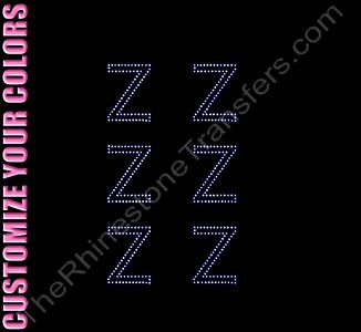 Greek Letter - Zeta - 1.7 Inches Height - ss6 Stones - CUSTOMIZE YOUR COLORS - Rhinestone Design File Download