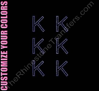 Greek Letter - Kappa - 1.7 Inches Height - ss6 Stones - CUSTOMIZE YOUR COLORS - Rhinestone Design File Download
