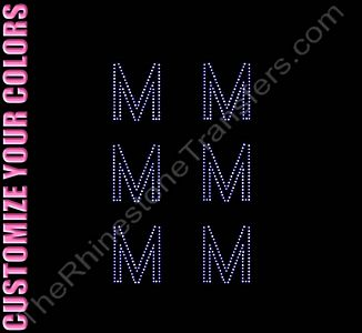 Greek Letter - Mu - 1.7 Inches Height - ss6 Stones - CUSTOMIZE YOUR COLORS - Rhinestone Design File Download