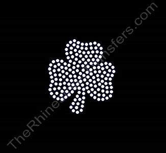 Shamrock - 2.5 Inches - Clear - Rhinestone Transfer