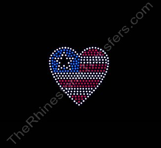 Heart USA Flag - Small - Rhinestone Transfer