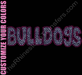 BULLDOGS - Fun Font - CUSTOMIZE YOUR COLORS - Rhinestone Transfer