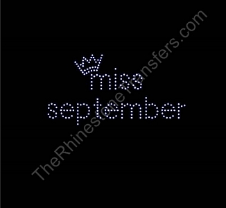miss month 9 with Crown: miss september small- Rhinestone Transfer
