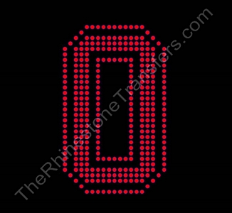 Varsity Number 0 - 6 Inches -  Siam Fill - Siam Outline - Rhinestone Transfer