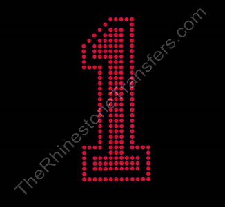 Varsity Number 1 - 6 Inches - Siam Fill - Siam Outline - Rhinestone Transfer