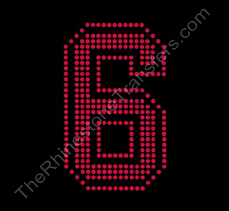 Varsity Number 6 - 6 Inches - Siam Fill - Siam Outline - Rhinestone Transfer