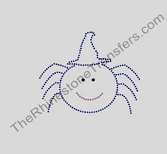 Spider With Witch Hat - Rhinestone Transfer