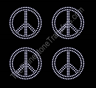 Peace Signs - Sheet of 4 - Rhinestone Transfer