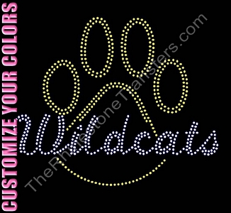 Wildcats thru Paw Print - Outline - CUSTOMIZE YOUR COLORS - Rhinestone Transfer