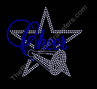 Cheer with Star and Megaphone - Cobalt - Rhinestone Transfer