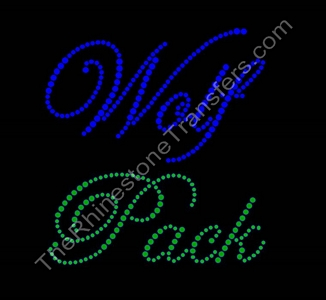 Wolf Pack - Fancy Script - Cobalt and Green - Rhinestone Transfer