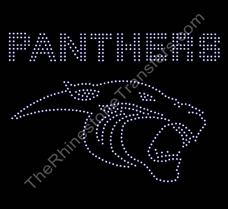 PANTHERS - with Large Panther Head - Clear - Rhinestone Transfer