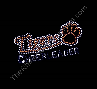 Tigers CHEERLEADER - with Paw Print - Orange - Rhinestone Transfer