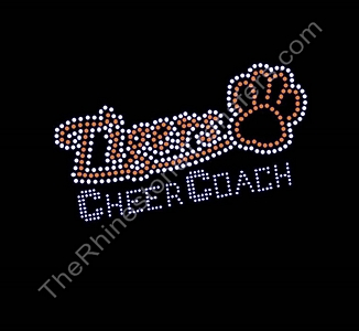 Tigers CHEER COACH - with Paw Print - Orange - Rhinestone Transfer