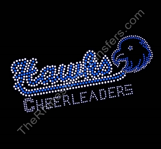 Hawks CHEERLEADERS - with Hawk - Capri Blue - Rhinestone Transfer