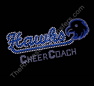 Hawks CHEER COACH - with Hawk - Capri Blue - Rhinestone Transfer