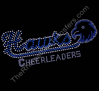 Hawks CHEERLEADERS Outlined - with Hawk - Capri Blue - Rhinestone Transfer