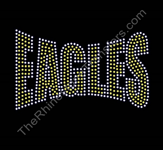 EAGLES - Banner Font - Citrine with Clear Outline - Rhinestone Transfer