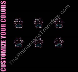 Petite Paw Print - Filled - 6 per Sheet - CUSTOMIZE YOUR COLORS - Rhinestone Transfer