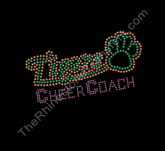 Tigers CHEER COACH - with Paw Print - Orange and Green - Rhinestone Transfer