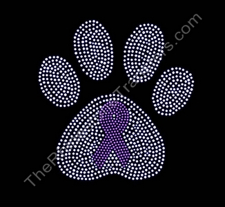 Ribbon Inside Large Crystal Paw Print - Rhinestone Transfer