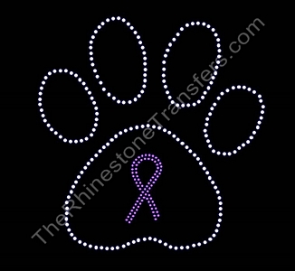 Ribbon Inside Medium Crystal Paw Print - Pink Outline - Rhinestone Transfer