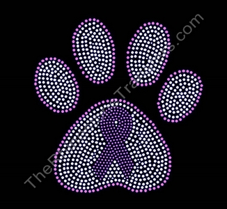 Ribbon Inside Medium Crystal Paw Print - Rhinestone Transfer