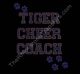 Tiger CHEER COACH - Varsity with Paw Prints - Orange and Green - Rhinestone Transfer