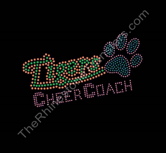 Tigers CHEER COACH - with Filled Paw Print - Orange and Green - Rhinestone Transfer